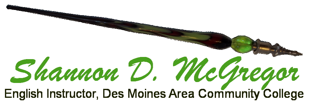 Calligraphy Pen Logo, Shannon McGregor, English Instructor, Des Moines Area Community College